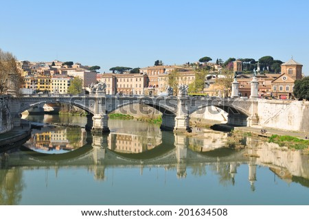 Architectural detail of old bridge in Rome, Italy