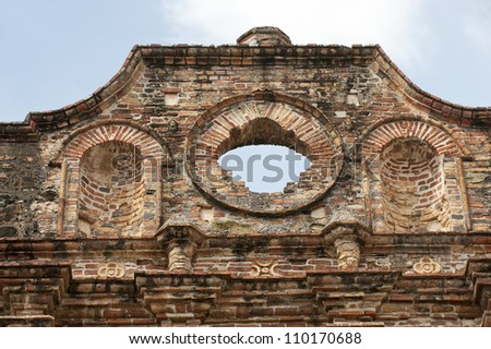 Architectural detail of San Ignacio de la Compania de Jesus church. Old Quarters, San Felipe, Panama City, Panama, Central America. - stock photo