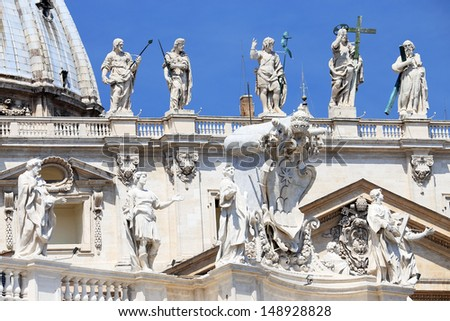 Architectural detail of San Pietro Square, Rome, Italy - stock photo