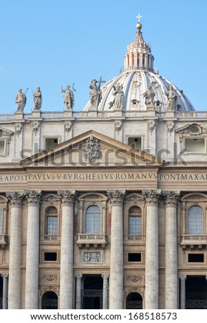 Architectural detail of St. Peter's Basilica, St. Peter's Square, Vatican City