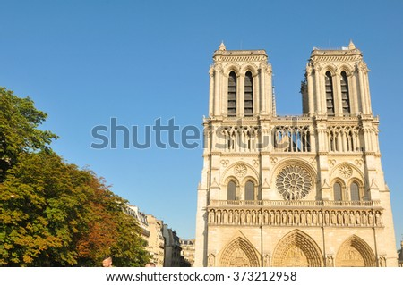 Architectural detail of the famous Notre Dame cathedral in Paris, France - stock photo