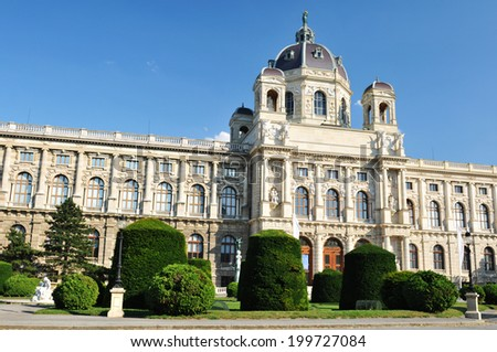 Architectural detail of the Kunsthistorisches Museum (History Museum) in Vienna, Austria - stock photo