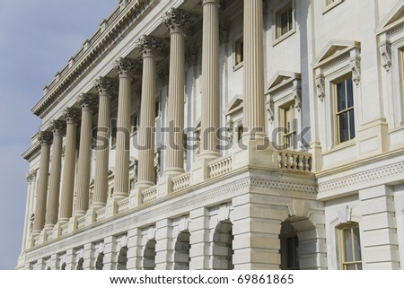 Architectural detail of US Capitol - stock photo