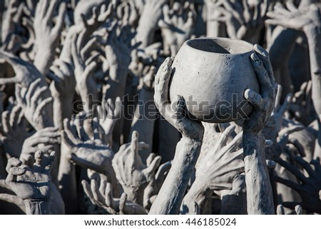 Architectural detail of Wat Rong Khun temple in Chiang Rai, Thailand