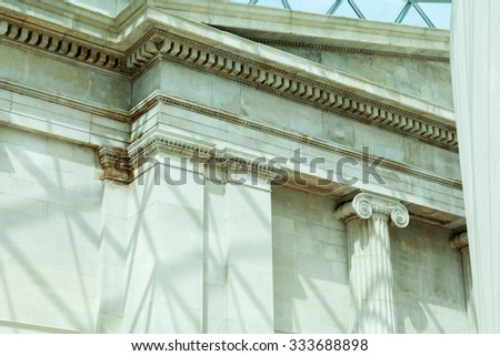 Architectural details in British Museum, London
