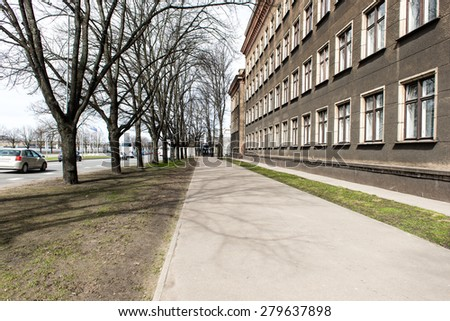 architectural details in spring of old city center in Riga, Latvia - stock photo