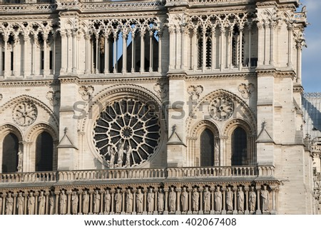 Architectural details of Cathedral Notre Dame de Paris. Cathedral Notre Dame de Paris - most famous Gothic, Roman Catholic cathedral on the eastern half of the Cite Island. France, Europe. - stock photo