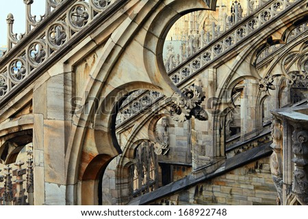 Architectural details of Duomo,Milan Cathedral roof. - stock photo
