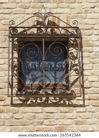 Architectural details of historic buildings in the provinces of Italy - stock photo
