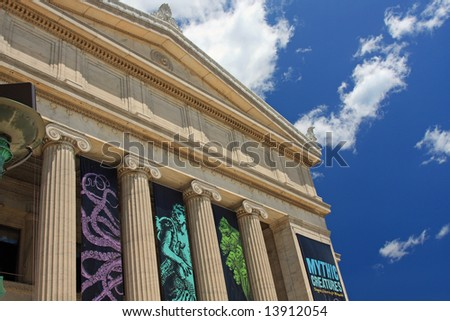 Architectural details of massive columns and facade - stock photo