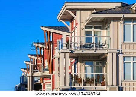 Architectural details of modern apartment buildings.  - stock photo
