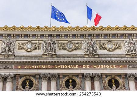 Architectural details of Opera National de Paris (Garnier Palace, 1875) - famous neo-baroque opera building in Paris, France. Opera - UNESCO World Heritage Site. - stock photo