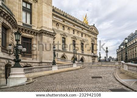 Architectural details of Opera National de Paris. Grand Opera (Garnier Palace) is famous neo-baroque building in Paris, France - UNESCO World Heritage Site. - stock photo
