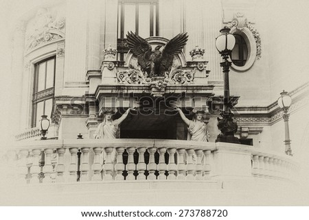 Architectural details of Opera National de Paris. Grand Opera (Garnier Palace) is famous neo-baroque building in Paris, France - UNESCO World Heritage Site. Antique vintage.