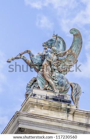 Architectural details of Opera National de Paris: Pegasus roof sculpture. Grand Opera (Garnier Palace) is famous neo-baroque building in Paris, France - UNESCO World Heritage Site. - stock photo