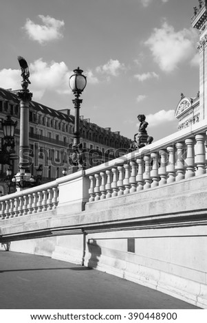 Architectural details of Opera National de Paris: West facade in black and white. Grand Opera (Opera Garnier) is famous neo-baroque building in Paris. Designed by Charles Garnier in 1875.  - stock photo