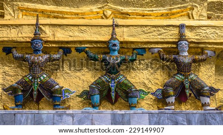 Architectural details of The Wat Phra Kaew (The Temple of the Emerald Buddha) in Bangkok, Thailand.