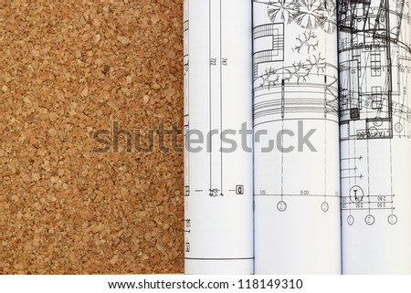 architectural drawing blueprints rolled on a table - stock photo