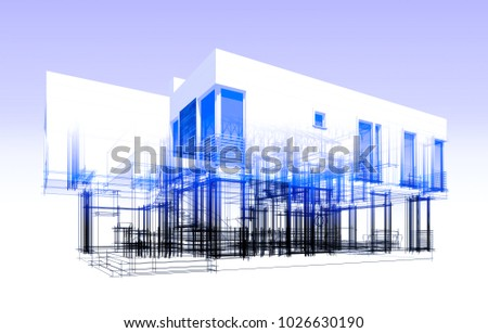 architectural drawing 3d illustration