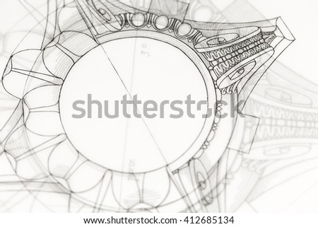 architectural drawing - detail column - stock photo
