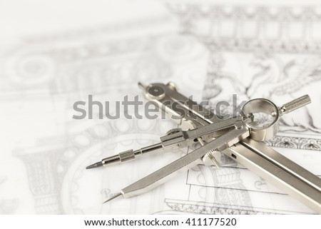 architectural drawing - detail column & compasses - stock photo
