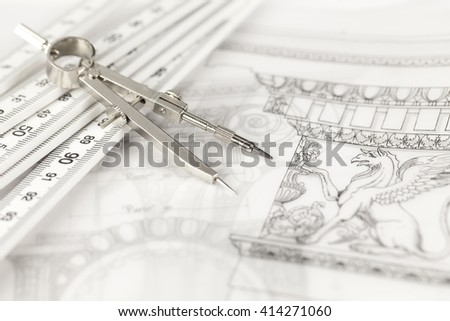 architectural drawing - detail column, folding ruler & compass - stock photo