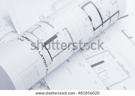 Architectural Construction Drawings Roll Blueprint Stock Photo