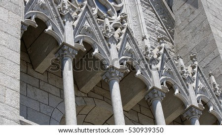 Architectural elements of a catholic temple, Templo Expiatorio Tibidabo, Barcelona, Catalonia, Spain, July 2016