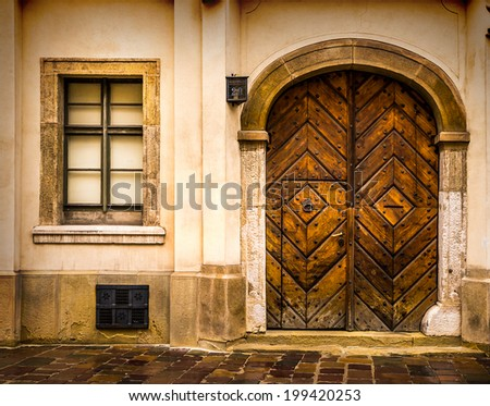 Architectural elements of the old European-style doors