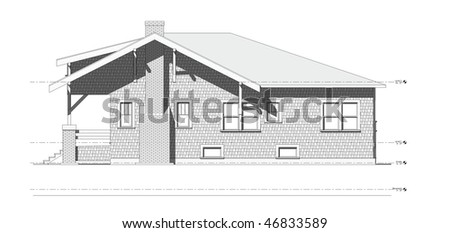 Architectural Elevation Drawing Of Old Craftsman Style Bungalow Home On Isolated White Background