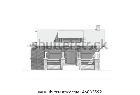 Architectural elevation drawing of old craftsman style bungalow home on isolated white background - stock photo