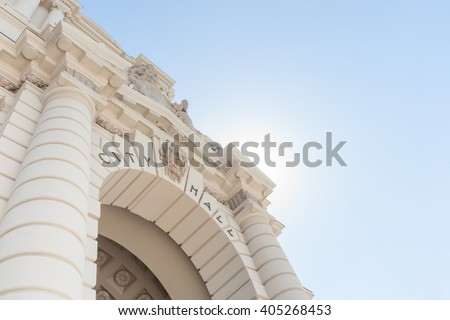 Architectural feature archway to Pasadena City Hall in Mediterranean Revival and Spanish Colonial Revival Styles
