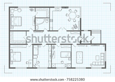 Architectural floor plan house illustration cottage em ilustrao architectural floor plan of the house illustration cottage black and white sketch drawing plan on ccuart Gallery