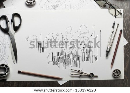 Architectural hand drawn project with set of tools - stock photo