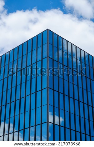 Architectural images of glass steel and natural shapes as abstracts and how they work together with the design of the structure and shows reflections of nature - stock photo
