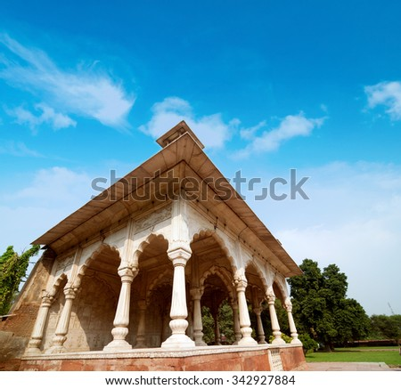 Architectural inside Lal Qila - Red Fort in Delhi, India - stock photo