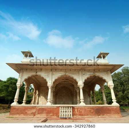 Architectural inside Red Fort in Delhi, India - stock photo