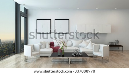 Architectural Interior of Open Concept Apartment in High Rise Condo - Low Coffee Table and White Sectional Sofa in Open Concept Modern Living Room with Modern Furnishings. 3d Rendering - stock photo