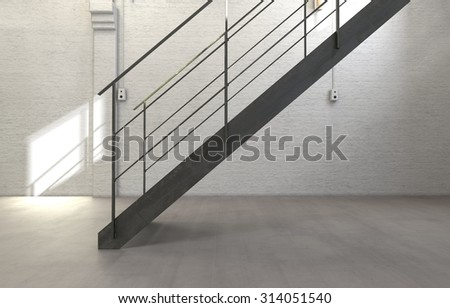 Architectural Interior Of Sparse Stairwell With Simple Staircase And Empty  Room With White Walls. 3d