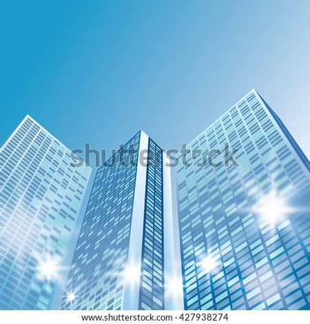 Architectural landscape with city buildings - stock photo