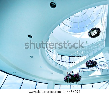 architectural limpid round ceiling with stair - stock photo
