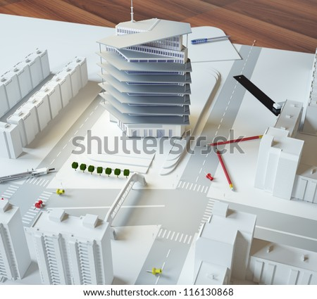 architectural model of a modern building - stock photo