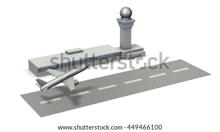 Architectural models of airports. 3D illustration - stock photo