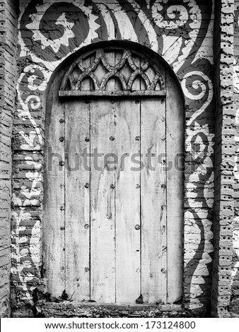 architectural of door detail in Arabian, Morocco / black and white - stock photo