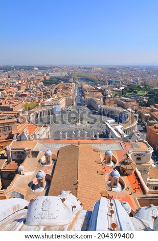 Architectural panorama of San Pietro (Saint Peter) square in Rome, Italy