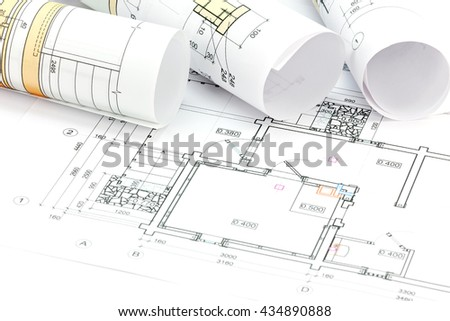 architectural plan, blueprints rolls and technical project drawings - stock photo