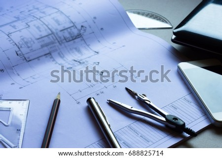 Blueprint pen ruler stock images royalty free images vectors architectural plandividerpencilpenruler glasses and smartphone and blueprint malvernweather Image collections