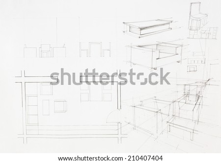 architectural plan of interior, dinning area - stock photo