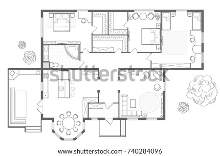 Architectural Plan Of The House. Professional Layout With Furniture In The  Form Of A Drawing