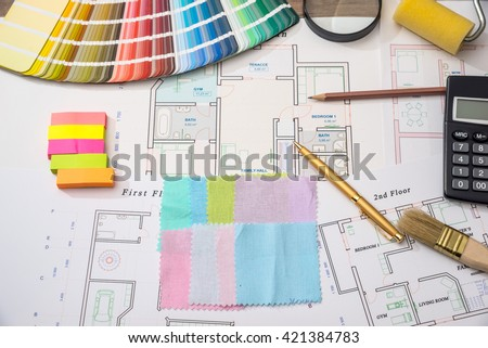 Architectural Plan Of The House With Color Palette